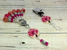 Pink Tree Portuguese Knitting Pin & Stitch Markers with Holder