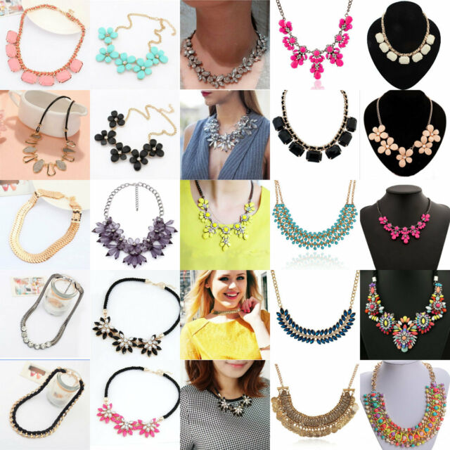 Fashion Crystal Chunky Statement Bib Pendant Chain Choker Necklace Party Jewelry