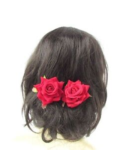 2x Rose Rouge Epingle A Cheveux Fleur Vintage Rockabilly Barrette Ebay
