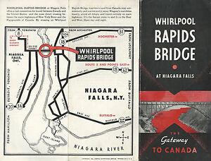 Details About Whirlpool Rapids Bridge Niagara Falls New York Canada Vintage 1942 Brochure Map