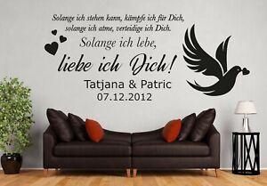 Wandtattoo Wohnzimmer Schlafzimmer Spruch So Lange Liebe Ich Dich Mit Name Pm487 Ebay