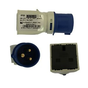 240V 16 Amp Industrial Plug To 13 Amp Domestic Socket Converter/Adap<wbr/>ter |68216UK