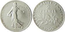 III° RÉPUBLIQUE  ,    2  FRANCS  SEMEUSE  ARGENT     ,  1909