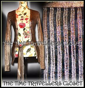 Kate-Moss-TOPSHOP-Gold-Black-Wool-Blend-Skinny-Rib-Belted-Cardigan-Knit-UK-8