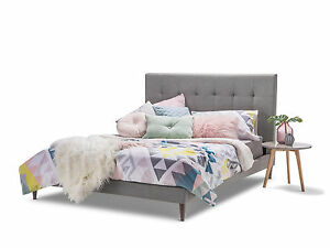 rika grey fabric scandinavian nordic retro queen bed frame tufted