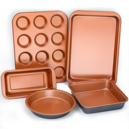 FGY Baking Pans Set 5 pcs Copper Nonstick Bakeware Cake /& Muffin Pans Sets