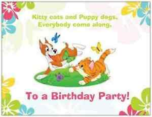 20-Birthday-INVITATIONS-Post-Cards-CAT-DOG-Child-Kids