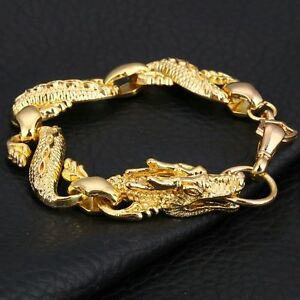 Gold-Plated-Dragon-Chain-Link-Men-039-s-Bracelet