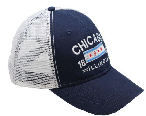 Chicago Flag Washed Trucker Cap w// Mesh Adjustable Strap
