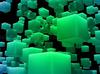 ABSTRACT BLOCK DESIGN GREEN CUBE 3D LARGE POSTER ART PRINT BB2902A