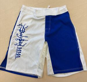 Body-Bag-MMA-Fight-Shorts-Blue-White-UFC-WEC-LFC-BELLATOR-Board-Shorts-U-S-A