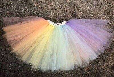 Rainbow Mermaid Tutu Age 0-10 Years New Girls Pastel Rainbow Tutu Skirt