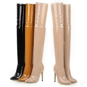 Occident-Sexy-Ladies-Pointy-Toe-Pole-Dancing-Patent-Leather-Overknee-High-Boots