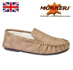 Mokkers Ian Men's Tan Pu Moccasins Slippers - Thermal Lining Tpr Outdoor Sole