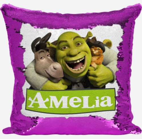 Personalised Shrek Any Name Magic Reveal Pink Sequin Cushion Cover Gift 2