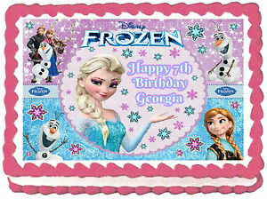 Edible Frozen Elsa Anna Olaf Disney Princess Icing Girls Birthday