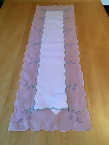 """Elsa Table Runner Lilac satin with voile trim embroidered with beads 12/"""" x 35/"""""""
