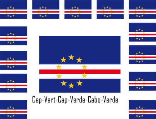 Assortiment lot de 25 autocollants Vinyle stickers drapeau  Cap-Vert-Cap-Verde