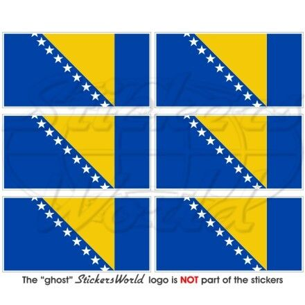 "mobile cell phone mini autocollants 1,6 /"" stickers x6 Bosnie-Herzégovine drapeau 40mm"