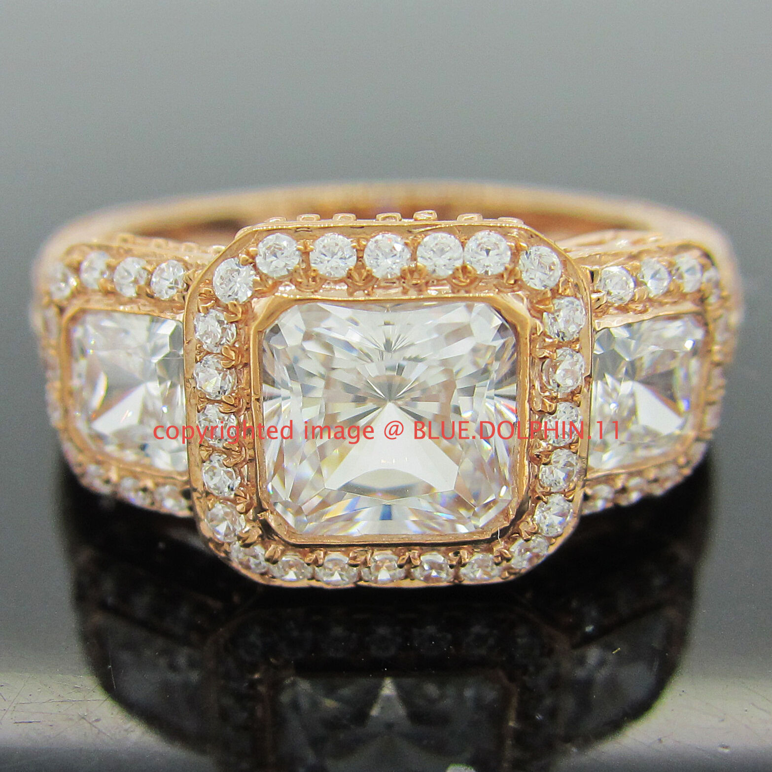 Genuine Solid 9k pink gold Engagement Wedding Trilogy Eternity Ring Lab Diamonds