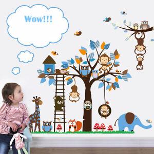 Animal-Hiboux-Autocollant-Mural-Singe-Jungle-Zoo-Tree-Nursery-Chambre-De-Bebe-Decalcomanie-Murale