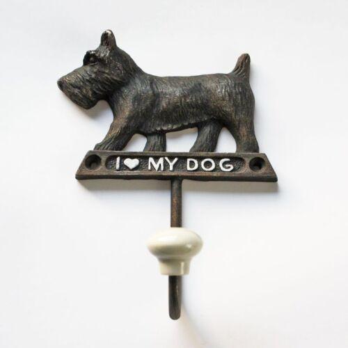 Garderobenhaken Wandhaken Einzelhaken Hund Terrier Schriftzug Eisen braun