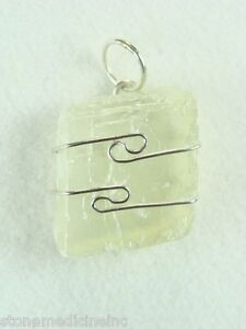 .8/21mm Green Calcite sterling silver wire wrapped Pendant #126