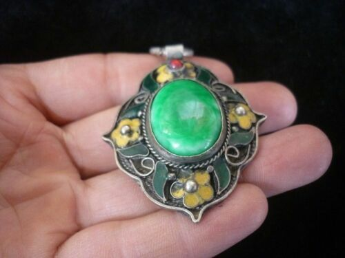 china style decor old cloisonne green jade tibet silver delicate noble pendant