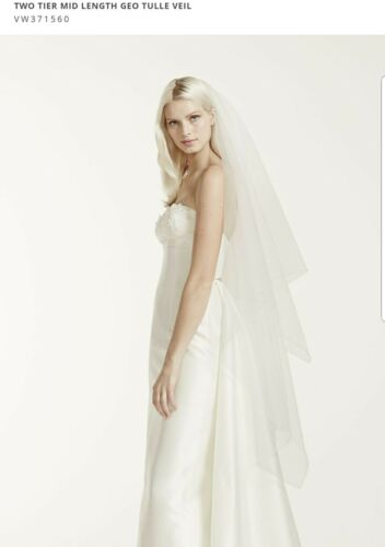 David/'s Bridal 2-Tier Mid Length Geo Tulle Veil $149 IVORY VW371560