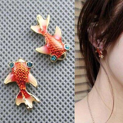 Vintage Retro Cute Alloy Orange Goldfish Fashion Sweet Studs Earrings