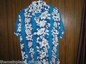 Bali-Collection-Hawaiian-Shirt-Large-Blue-Floral-Short-Sleeve-Hawaii-Aloha