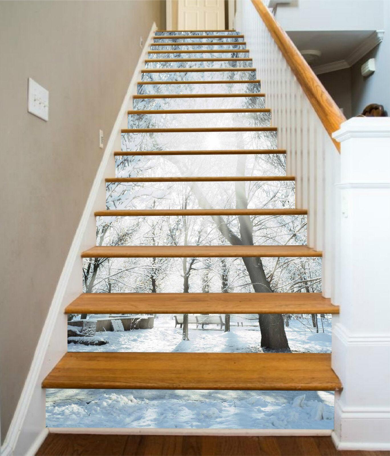 3D Schnee Baum 494 Stair Risers Dekoration Fototapete Vinyl Aufkleber Tapete DE