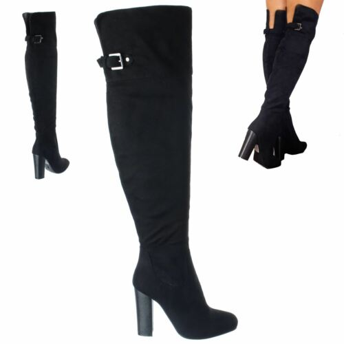 LADIES WOMENS OVER THE KNEE BLOCK HIGH HEEL RIDING ZIP BUCKLE BOOTS SHOES SIZE