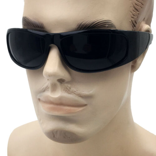 Matte Black Super DARK Lens Biker Wrap Around Chopper Sunglasses Gangster Cholo