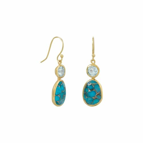 Gold Plated Copper Infused Turquoise /& Sky Blue Topaz Earrings Sterling Silver