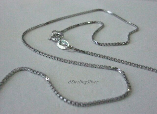 """925 Sterling Silver Box Chain / Necklace - 18"""" Inches, 2.9 Grams, 1mm width"""