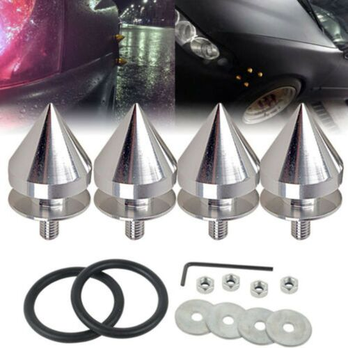 SILVER JDM SPIKED ALUMINUM QUICK RELEASE FASTENERS KIT FIT FOR BUMPER /& TRUN
