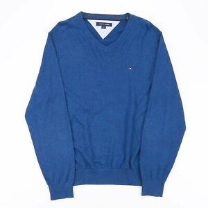 Vintage Tommy Hilfiger blau 00s V-Neck Pullover Herren L