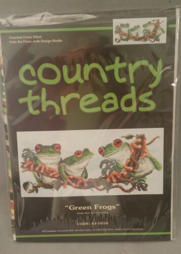 Green Frogs Cross Stitch Kit by Country Threads 20 x 44cm