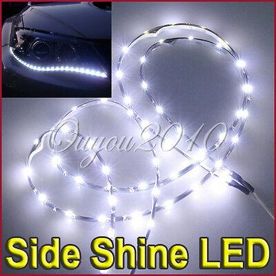 2x White 60CM 30LED Car Truck SMD Side Emitting Glow Flexible LED Strip Light