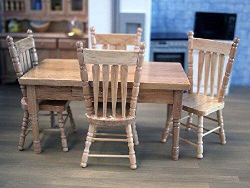 Dolls House Miniature 1 Scale 12th Scale 1 Oak Table & Chairs Set 507cec