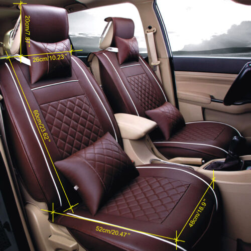 Size L Car Seat Cover PU Leather 5-Seats Front /& Rear Cushion W//Pillow 4 Season