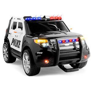 BCP 12V Kids Police Ride-On SUV Car w/ 2 Speeds, Lights, AUX, Sirens - Black