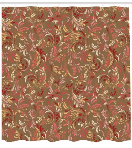 Red and Brown Shower Curtain Fabric Bathroom Decor Set with Hooks 4 Sizes