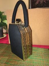 Vintage Tyrolean NY Black Fabric With Gold Filigree Purse Change-purse & Mirror