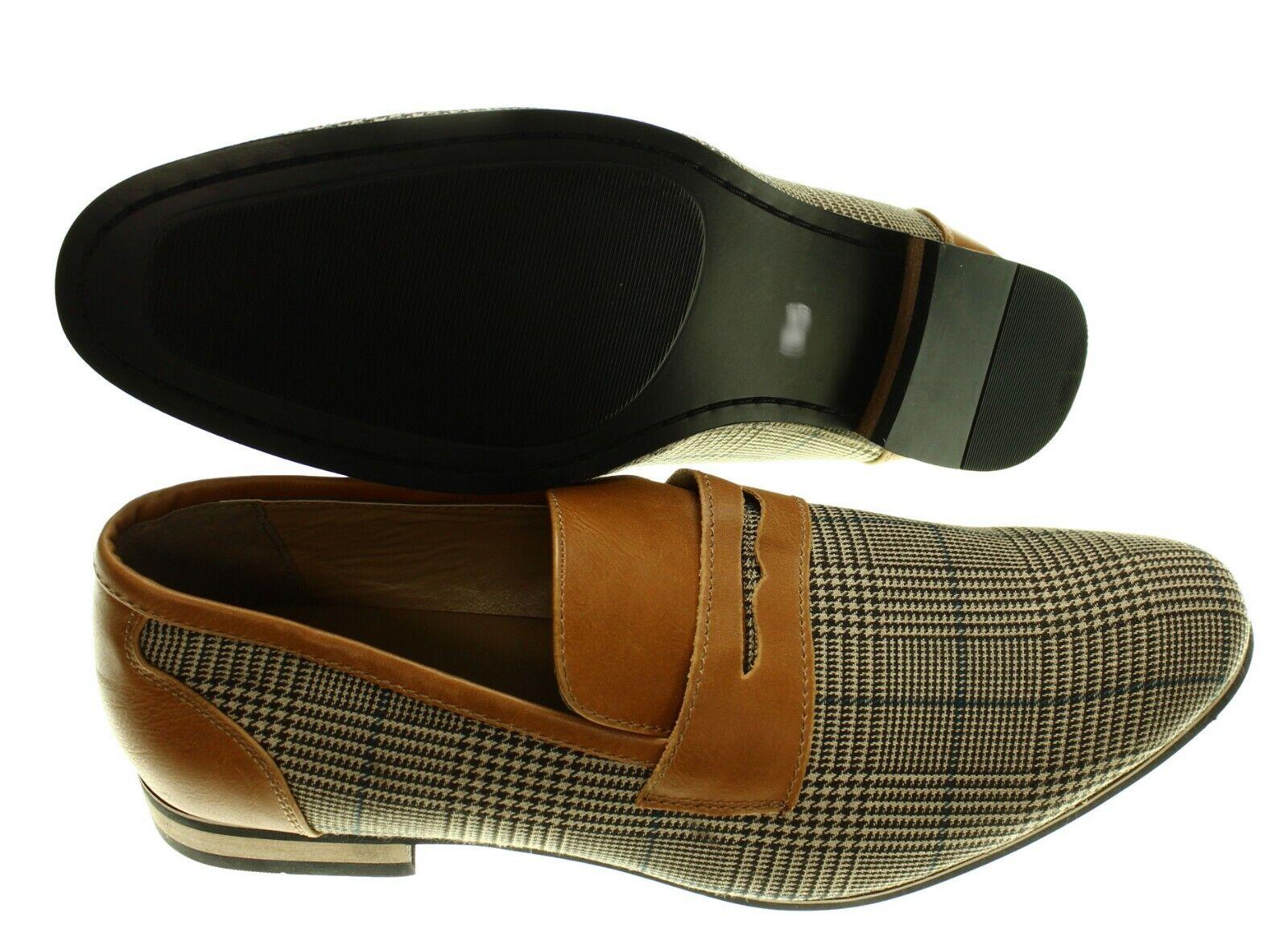 NEW - STEVE HARVEY Men's PENNY LOAFER Brown PLAID DRESS SHOES - US 9