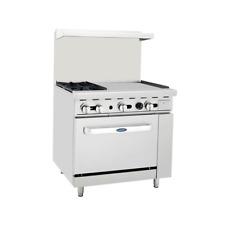 New 36 Range 2 Open Burner 24 Flat Top Plancha Griddle Amp Oven Atosa Agr 2b24g
