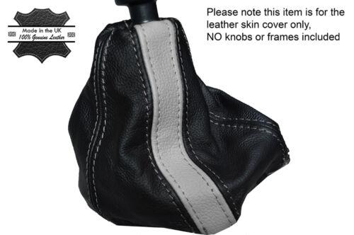 BLACK /& GREY STRIPE LEATHER SKIN GEAR GAITER FITS FIAT 500 /& 500 ABARTH 07-14