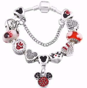 4d2d9c3947386 Details about Mickey and Minnie Mouse Inspired European Charm Bracelet