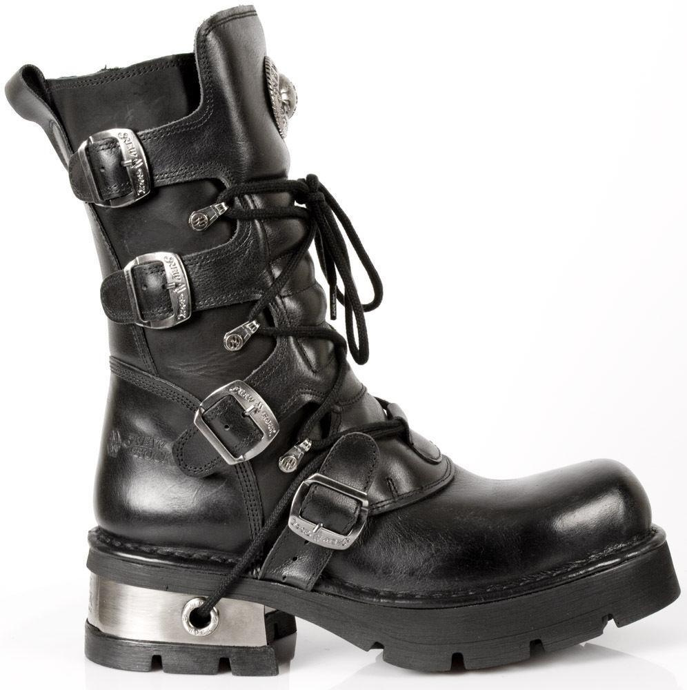 New Black Rock Newrock M.373-S1 Metallic Black New Leather Gothic Punk Unisex Boots 8c2a15